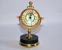 Antique vintage maritime brass desktop watch black marble stone stand clock gift