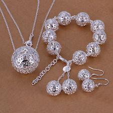 925 Stamped Sterling Silver Filled Filigree Ball Necklace/Earrings/Bracelet set