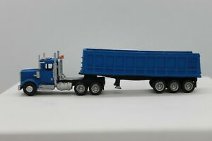 N Scale custom painted 3 D printed Cab (Ken) and 35 FT Dump Trailer Blue