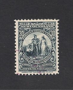 1897 NEWFOUNDLAND USED/HINGED COLONY SEAL 30 CENT ISSUE DISCOVERY NEWFOUNDLAND
