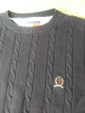 Men's medium Tommy Hilfiger 100% cotton cable black crew neck jumper pullover