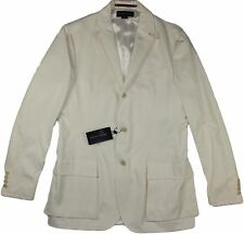 RALPH LAUREN BLACK LABEL WHITE JACKET W/ LEATHER ACCENTS-SIZE 40R-MADE IN ITALY