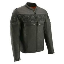 Milwaukee MENS MOTORCYCLE SON OF ANARCHY CLUB STYLE LEATHER SHIRT SNAP JACKET BLACK NEW 3XL Regular