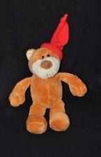 Peluche doudou ours FIZZY brun beige roux bonnet rouge 24 cm TTBE