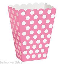 8 Rosa Lunares Blancos Spot Estilo Partido papel botín tratar favor Bolsas Cajas