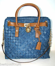 NEW MICHAEL KORS HAMILTON  WOVEN BLUE DENIM,LUGGAGE LG N/S TOTE HAND BAG, PURSE