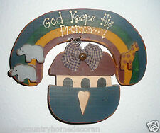 """WOOD PLAQUE~""""Noah's Ark""""~""""GOD KEEPS HIS PROMISES""""~Handcrafted~FREE SHIP"""