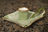 Signed, hand painted, vintage candle holder - green w/gold trim - Elegant