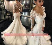 2017 New Wedding Dress Long Sleeve Mermaid Bridal Gown Custom Size 2 4 6 8 10 12