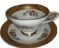 Vintage: H&M Sutherland Bone China Floral & Gold Tea Cup and Saucer Collector