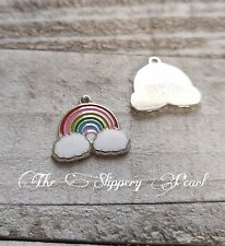 50 Cloud Charms Weather Rainbow Sun Rain Charms Antique Silver Tone 15x13 474