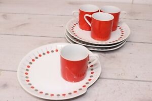 Vintage Diner Desert Pie Plate Coffee Cup Set 4 Carnival 553 Polka Dot Lollipop