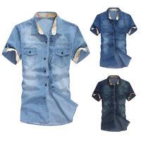 Jeanshemd Herren Hemd Jeans Slim Fit kurze Ärmel Denim Polo Shirt