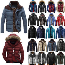 Men Hoodie Puffer Bubble Down Jacket Coat Hooded Quilted Padded Parka Outwear