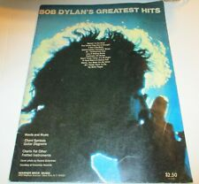 Bob Dylan'S Greatest Hits Music Book -12 Songs-Vintage-Blowin' ; in the Wind,