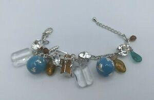 Silver Tone World Peace Enamel Dangling Charm Bracelet Glass Rhinestone Globe