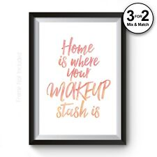 Funny Girls Bedroom Home Watercolour Fine Art Prints - 100% Cotton Fashion Decor