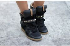 Gorgeous Zara studded Hi-top sneaker studs black gold wedge blogger Trainer's 7