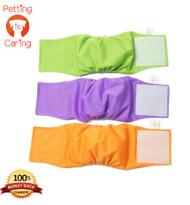 MALE DOG Belly Band WRAPS WASHABLE by PETTING IS CARING - Set Pack 3 of units