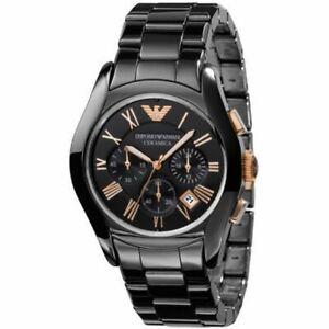 Emporio Armani AR1410 Ceramica Chronograph Analog Black Men's Wrist Watch NEW!