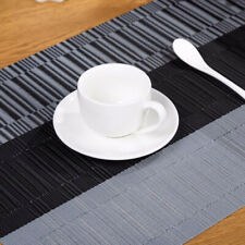 Bamboo Rectangle Placemats Pvc Table Mat Non-slip Dinner Coasters Decor N3