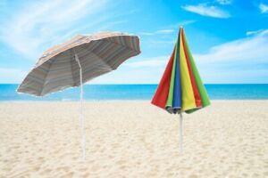 Garden Beach Outdoor Patio Tilting Tilt Umbrella Parasol Sun Shade UPF40 1.8M UK