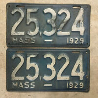 Massachusetts 1929 license plate pair 25324