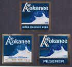 Kokanee Pilsener Beer Label Lot of 3