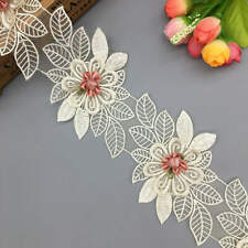 1 yd Apricot Flower Embroidered Lace Trim Ribbon Fabric Wedding Dress Clothes