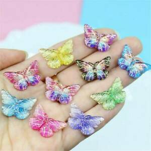 10Pcs Colorful Resin Butterfly Charms Pendant DIY Making Necklace Jewelry Cute