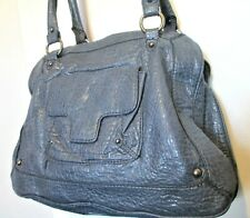 New KENNETH COLE REACTION Dusty Blue Textured Faux Leather Shoulder Handbag