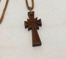 Hand Made Armenian Carved Wooden Cross Necklece 1 3/8 Inches