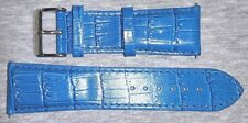 NWT - TECHNO EAGLE ALLIGATOR EMBOSSED LEATHER WATCH STRAP/BAND Blue 26 mm