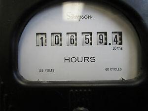 Simpson Electromechanical Hour Meter 115V 60Hz Used