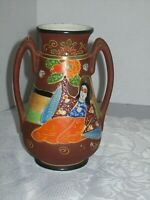 SATSUMA STYLE MORIAGE HAND PAINTED TWO HANDLES VASE MADE IN JAPAN