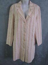 Newport News Size 12 Striped Long Coat Lightweight Lined Seersucker NWOT