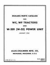 Allis Chalmers Model WC & WF Tractor Parts Manual Reprint from 1965 coil binding