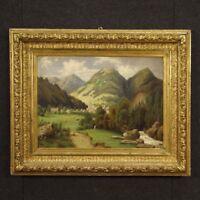 Dipinto francese quadro paesaggio olio su tela cornice dorata stile antico 900