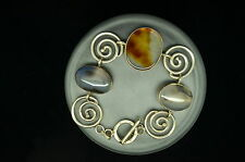 """7.5"""" 925 STERLING SILVER CHUNKY MOSS AGATE & SWIRLY DESIGN CHAIN BRACELET #A3037"""