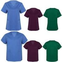 Mens Ladies V Neck Scrub Tops Nurses Tunic Medical Uniform Healthcare Workwear