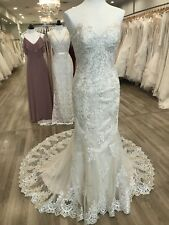 Maggie Sottero Wedding Gown Reynold Champagne Size 10 Lace Beading Jacket