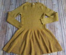 New Appaman Big Girls Sparkle Sweater Dress Gold Yellow Holiday Fall L/S  Sz 10