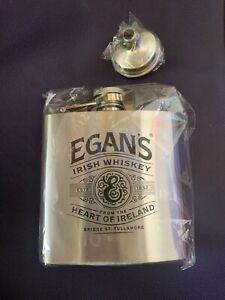 Egans Irish Whiskey Flask + Flask Funnel, Silver Metal, NEW, Wedding, Golf, Bar