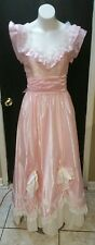 XS PINK WHITE LACE PEARLS VTG 70s GUNNE SAX VICTORIAN EDWARDIAN TEA PARTY DRESS