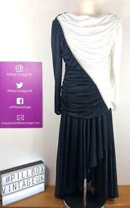 Vintage 80s Amazing Black White Abby Kent Dress With Rhinestones Size 12