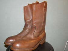 80's Light Brown Leather Pull On Safety Leather Boots by Wolverine Men's 9 1/2Ee
