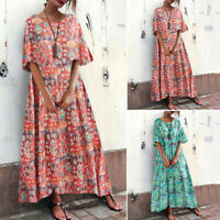 ZANZEA 8-24 Women Short Sleeve Printed Floral Sundress Kaftan Long Maxi Dress