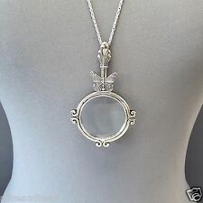 Antique Silver Chain Magnifying Glass Butterfly Design Pendant Necklace