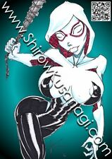 SHIROW Sexy SPIDER GWEN Stacy Spider Girl Man DC Marvel Comics ACEO ATC Art Card