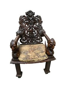 Ornately Carved Antique Arm Chair, Dragon Carvings, Oak, 19th Century